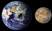 Größenverhältnis Erde Mars. Bild: Dr. Lee/NASA