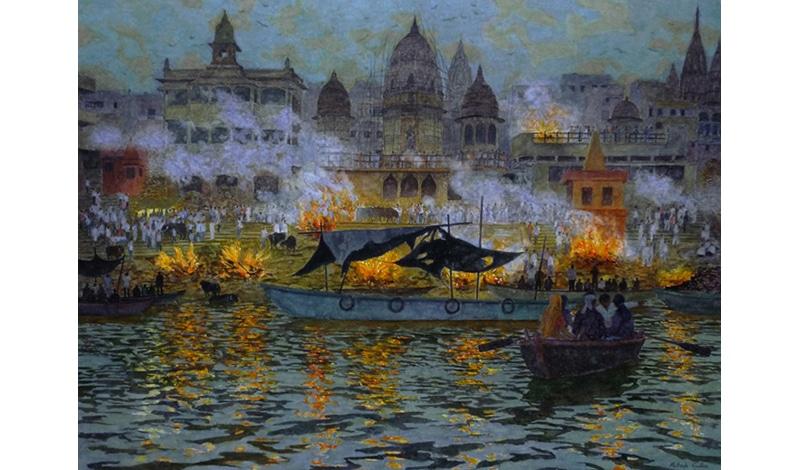 Patrick Cullen, Burning Ghats at Dusk
