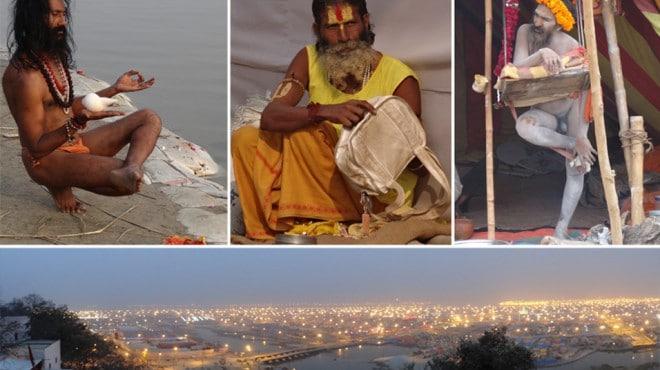 Eine riesige eigene Stadt entstand nur für die Besucher der Kumbh Mela, darunter viele heilige Männer Indiens, die Sadhus. © Fotos: Christian Krug