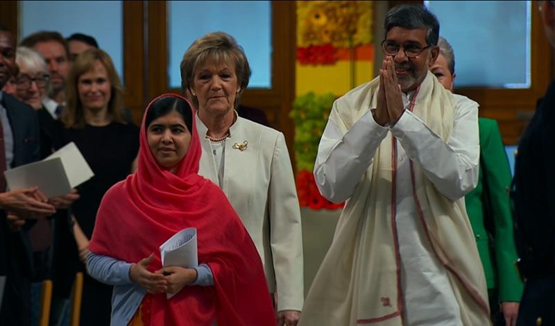 Malala und Kailash Satyarthi bei der Verleihung des Friedensnobelpreise. © 2015 Twentieth Century Fox