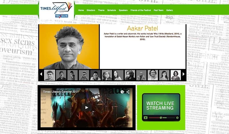 Times Litfest (Bildschirmfoto der Webseite)