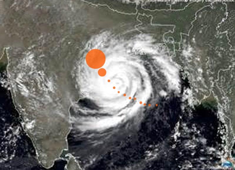 Dies ist der Weg, den Zyklon Phailin vom Golf von Bengalen aus auf die indische Ostküste nahm.