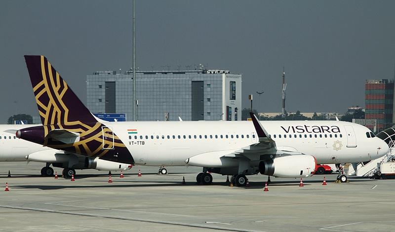 Ein Airbus A320-232 von Vistara am Flughafen in Delhi. Foto: Vistara