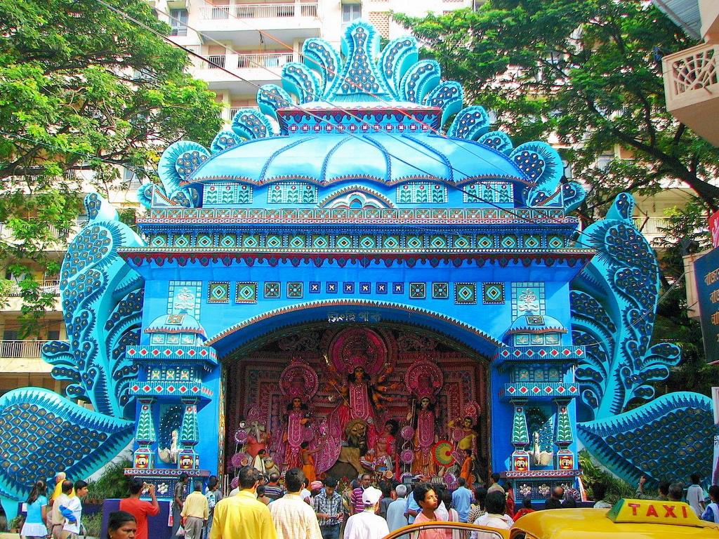 Eines der Pandals, der Ausstellungsorte in Kolkata, während der Durga Puja. Foto: Indraneel Biswas