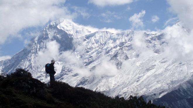 Schneebedeckte Gipfel in Sikkim. Foto: Matthieu Aubry
