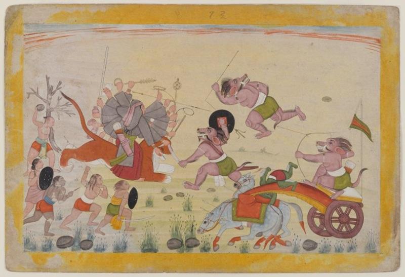 Der Kampf Durgas gegen den Dämonen (Gemälde, Brooklyn Museum)