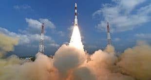 Start der indischen Trägerrakete mit 104 Satelliten am 15. Februar 2017.