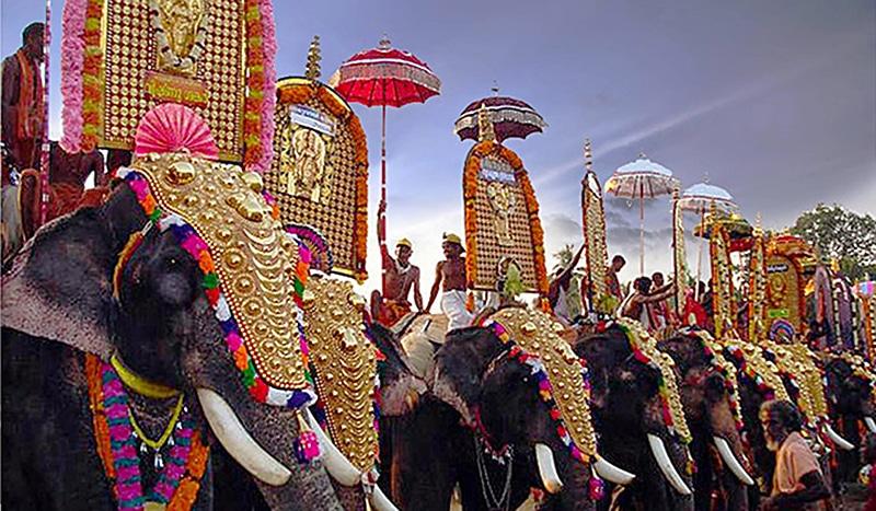 Prächtig geschmückte Elefanten bei der Paripally Gajamela