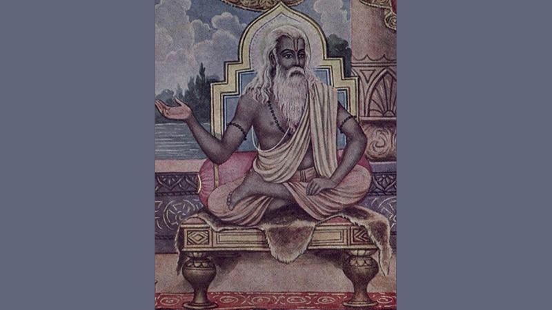 Vyasa, der Verfasser des Mahabharata; er kommt im Übrigen auch selbst darin vor. Bild: Ramanarayanadatta astri