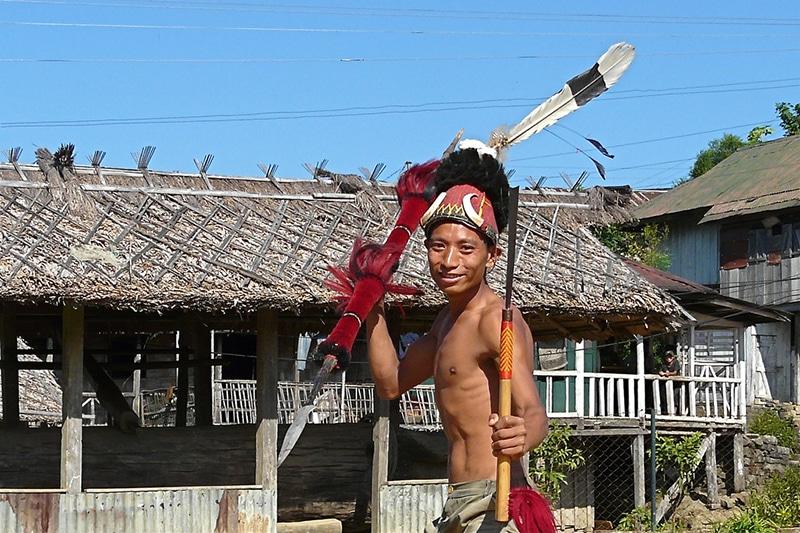 Ein Krieger der Ao in Nagaland