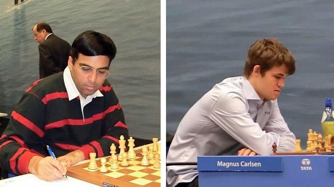 Die beiden Schach-Kontrahenten Viswanathan Anand und Magnus Carlsen. Foto: Stefan64 (wikipedia)