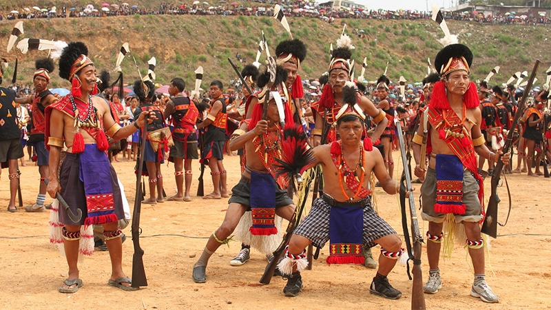Tänzer beim Aoling Festival in Nagaland.