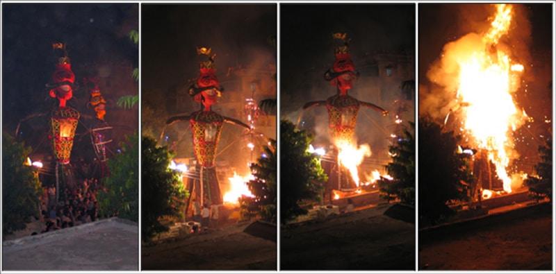 Ram Leela - Verbrennung der Statue des bösen Dämons Ravana