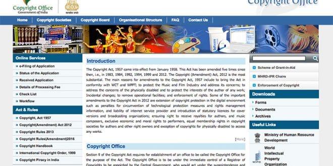 So sieht die Startseite der offiziellen Webseite des Copyright Offices in Indien aus.