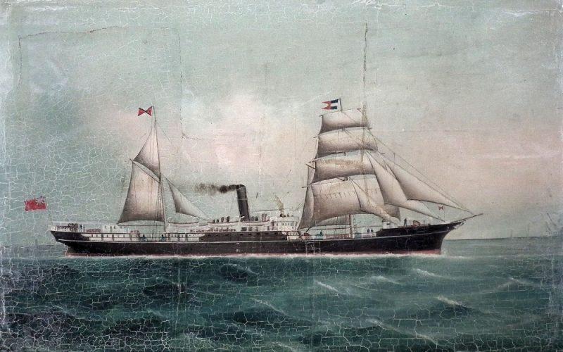 Die armenische Familie der Apcar waren anerkannte Reeder. S.S. Catherine Apcar, Apcar Line Steamers, Calcutta, spätes 19. Jahrhundert, Künstler unbekannt