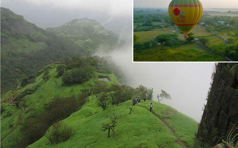 Die Westghats bei Lonavala (Foto: Ravinder Singh Gill) und oben links der Start eines Skywaltz Heißluftballons.