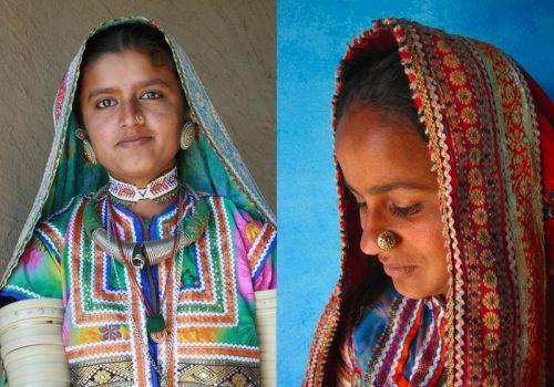 Junge Frauen aus Kutch in traditionelle Stoffe gekleidet. Foto: Meena Kadri
