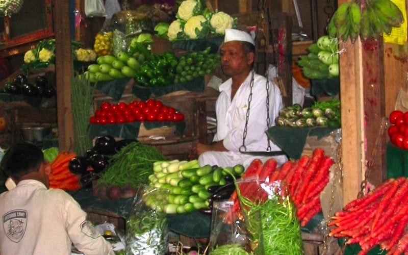 Ein Gemüsehändler in Crawford Market. Foto: Traudl Kupfer