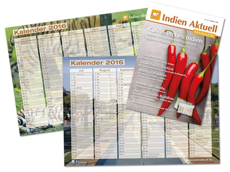 Kalender 2016 mit indischen Feiertagen www.indienaktuell.de/shop