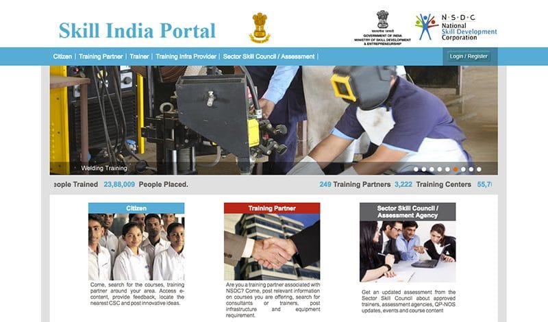 Qualifizierung in Indien: Webseite Skill in India