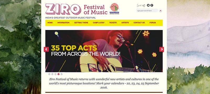Ziro Festival (screenshot der Webseite)